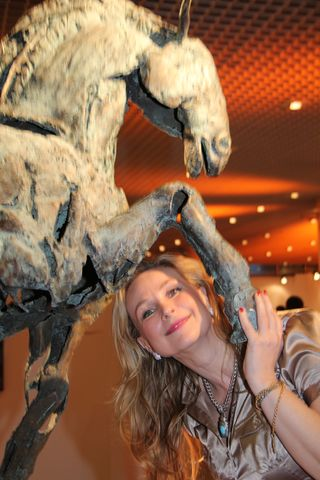 Art monaco horse and person